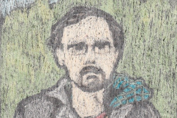 A self-portrait of Gareth Brookes in pastels.