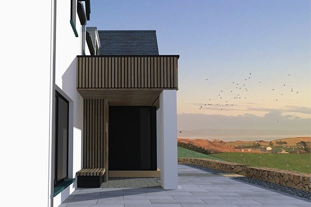 The side of a modern house in an idealised landscape