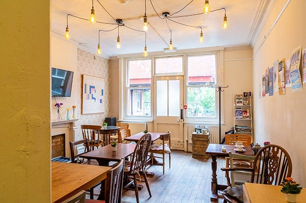 The seating area in Stanley Social Café at Stanley Arts