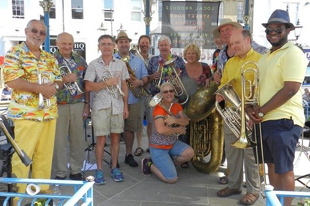 A brass band on a sunny day