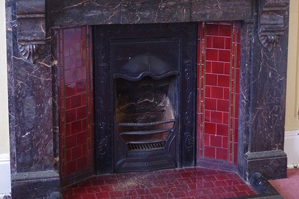 Fireplace in Second Main Dressing Room at Stanley Arts