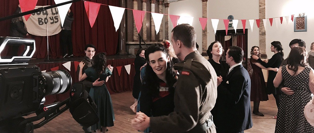 Filming of a 1940s dance scene in the Stanley Hall