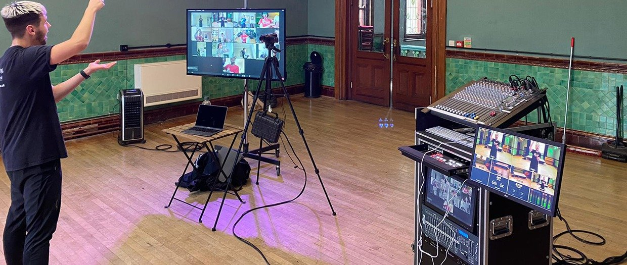 The streaming studio in the assembly room