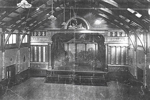 A photograph of the interior of the main Stanley Hall from the pre-war period