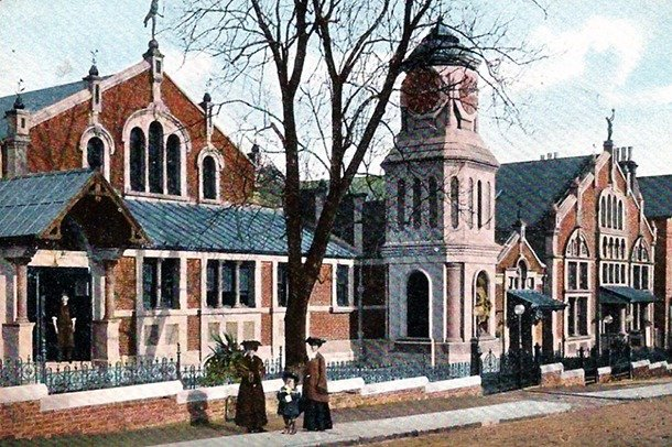 A colour painting of the front of the Stanley Halls building complex.