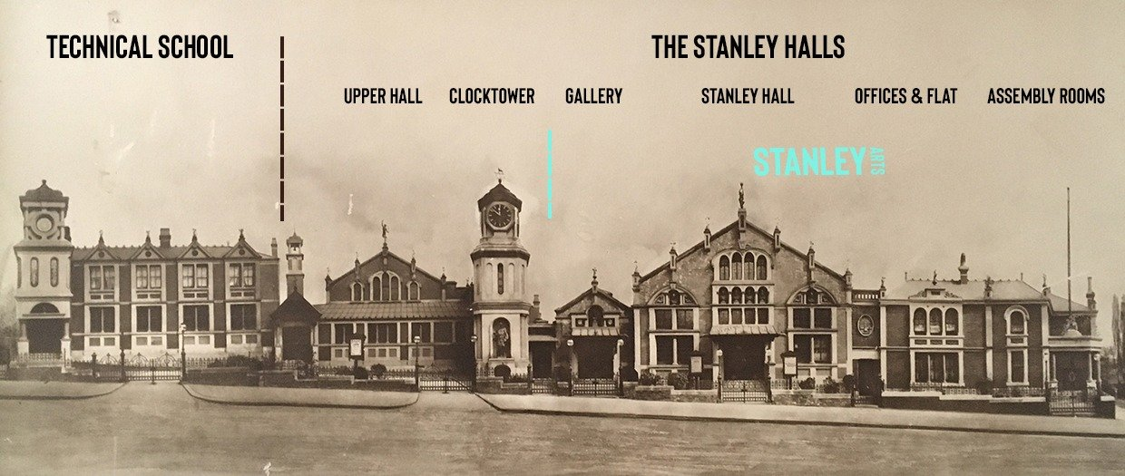 An photograph of the Stanley Halls complex from the 1920s