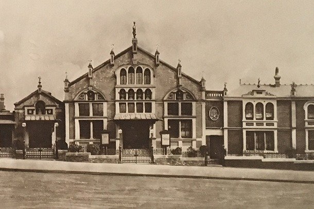 A photograph of the Stanley Halls complex from the 1920s