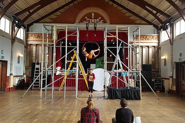 Circus rehearsals in Stanley Hall