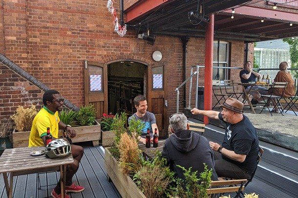 The outside deck just up from the Yard Bar at Stanley Arts